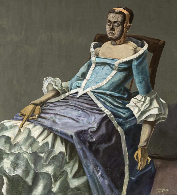 Günter Richter, Modellpuppe mit Kostüm, 110x100 cm, o. J., Öl auf Leinwand