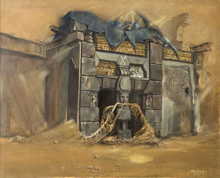 Günter Richter, Abbruch des monströsen Hauses, 95x120 cm, 1994, Öl auf Leinwand