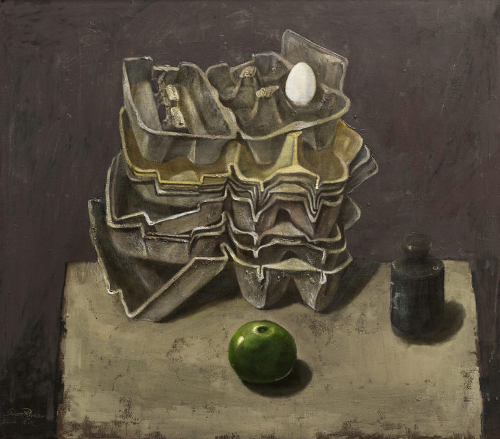Günter Richter, Eierverpackung, Apfel und Gewicht, 70x78 cm, 2000, Öl auf Leinwand
