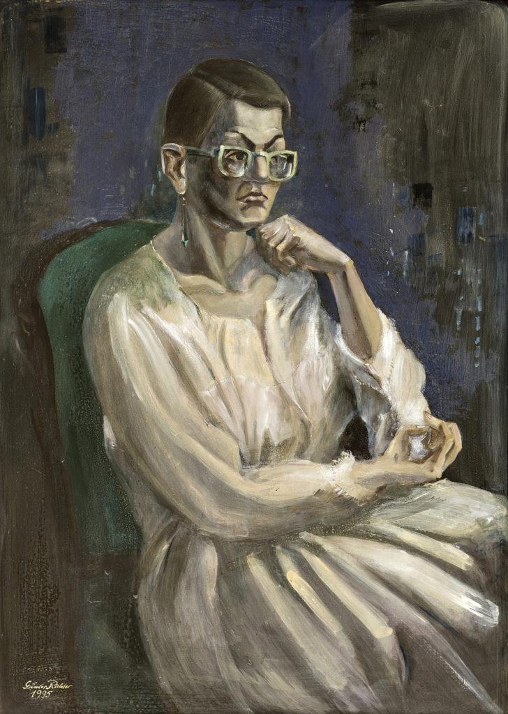 Günter Richter, Porträt Renate Hartleb, 100x70 cm, 1995, Öl auf Hartfaser