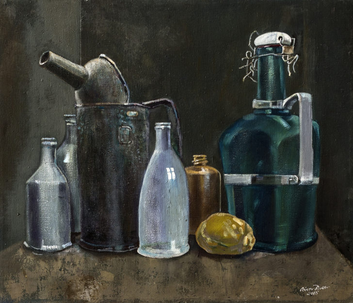 Günter Richter, Stillleben mit Flaschen, 59x50 cm, 2015, Öl auf Leinwand