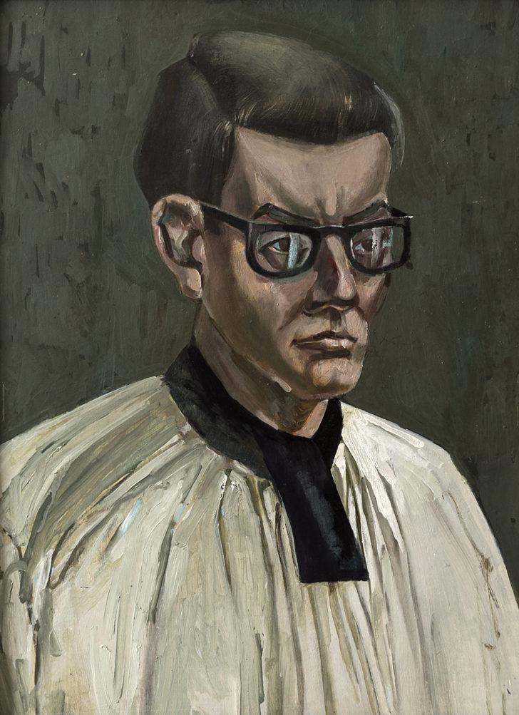 Günter Richter, Jesuit, 53x40 cm, 1955, Öl auf Hartfaser