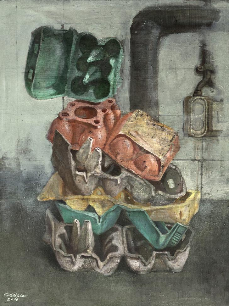 Günter Richter, Eierverpackung, 83x63 cm, 2006, Öl auf Leinwand