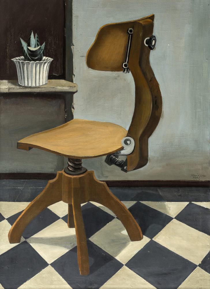 Günter Richter, Bürostuhl mit Topfpflanze, 110x79 cm, 2001, Öl auf Leinwand