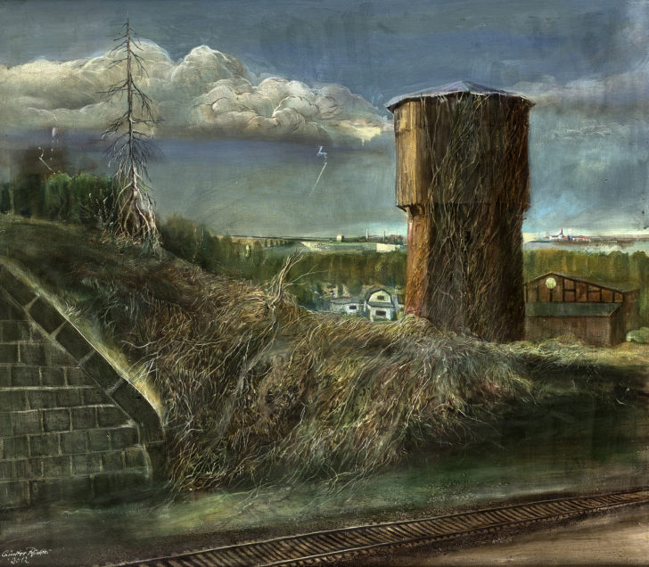 Günter Richter, Am Bahndamm, 73x83 cm, 2012, Öl auf Leinwand