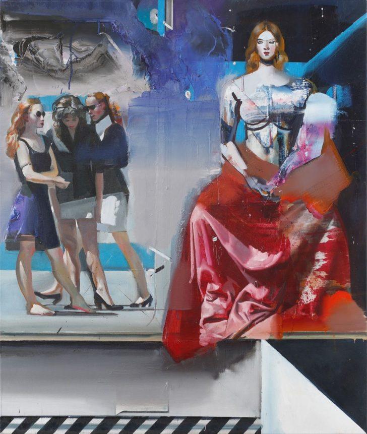 Rayk Goetze, Thron, 130x110 cm, 2018, Öl und Acryl auf Leinwand