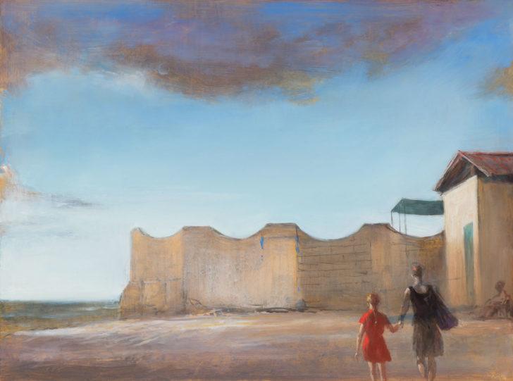 Andreas Wachter, Die Mauer, 37x50 cm, 2018, Mischtechnik auf MdF