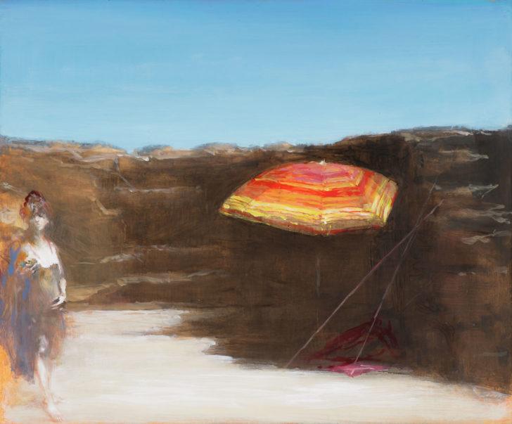 Andreas Wachter, Sonnenschirm, 37x50 cm, 2018, Mischtechnik auf MdF