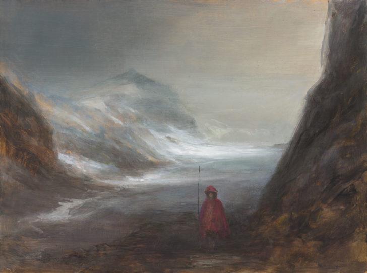 Andreas Wachter, Schneefeld, 37x50 cm, 2017, Mischtechnik auf MdF
