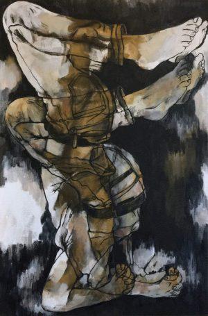 Juana Anzellini, Nicht sehen wollen (Felipe S.), 54x80 cm, 2017, Öl und Acryl auf Leinwand