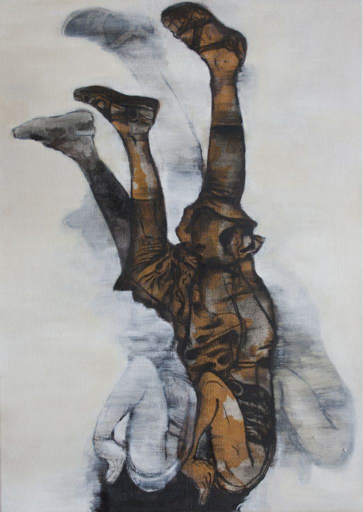 Juana Anzellini, Nicht sehen wollen (Laura F.), 50x70 cm, 2017, Öl, Kohle und Acryl auf Leinwand
