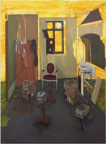 Volker Kaufmann, Campin 3, Öl auf Nessel, 100x75 cm, 2016