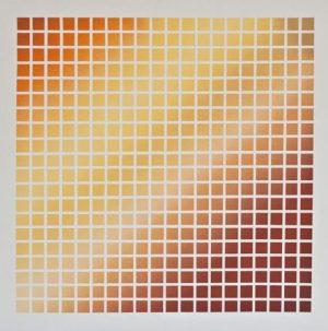 Sascha Langer, Rasterkomposition in gelb, orange und rot, 1998, Öl auf Leinwand