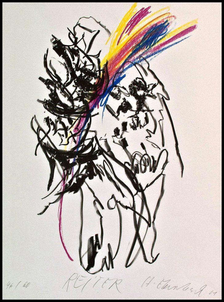 Hartwig Ebersbach, Reiter. Lithographie mit farbiger Kreide, 2001