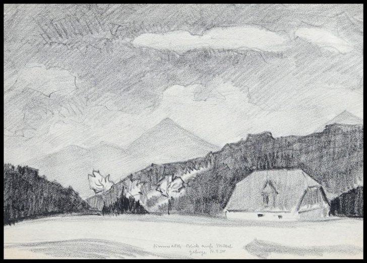 Hans Venter, Blick aufs Mittelgebirge, Zinnwald, Bleistiftzeichnung 1924