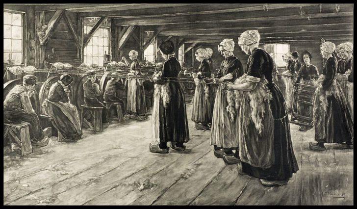Max Liebermann, Die Flachsscheuer in Laren, Mezzotinto, 1890