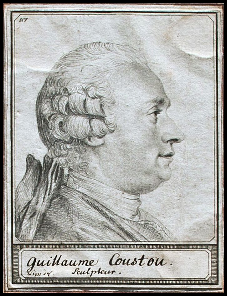 Johann H. Lips, Porträt des französischen Bildhauers G. Coustou, Zeichnung, o. J.