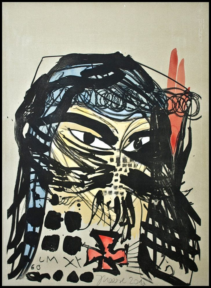 Jonathan Meese, Heilbuttn's der Kunst (Formzucki), handcolorierte Lithographie, 2012