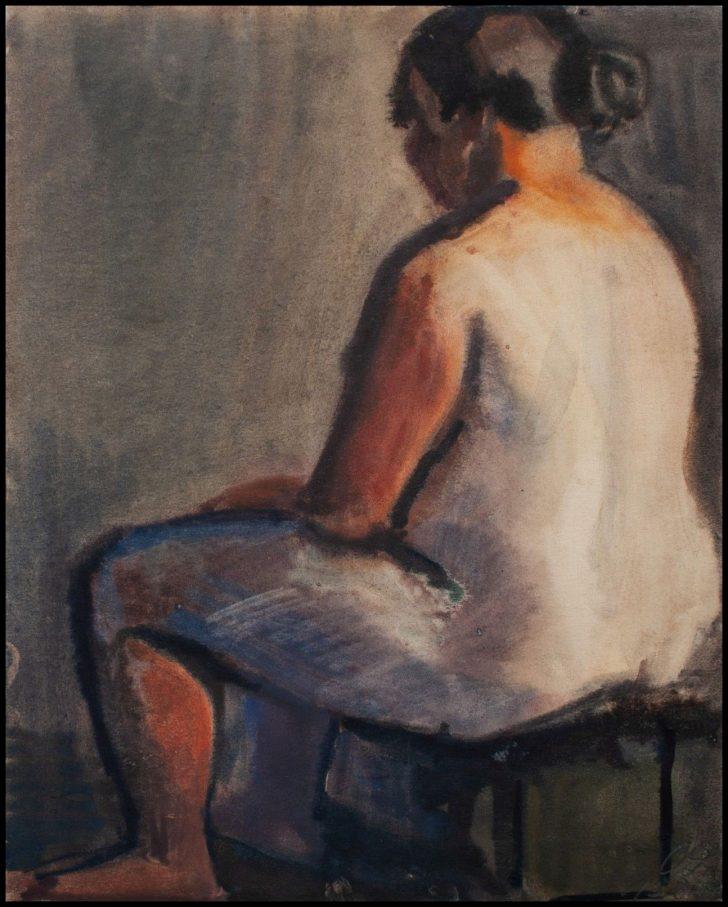 Curt Querner, Sommerabend, Aquarell, 1959