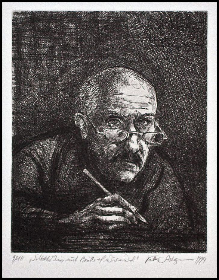 Volker Stelzmann, Selbstbildnis mit Brille, Radierung, um 1994, 9/10
