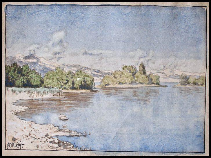 Edmund Steppes, Inseln im Staffelsee, Aquarell, 1915