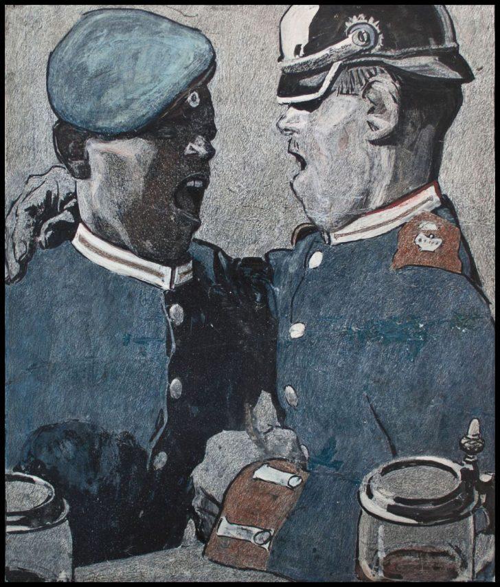 Eduard Thöny, Soldatenlied, Zeichnung, 1904/05
