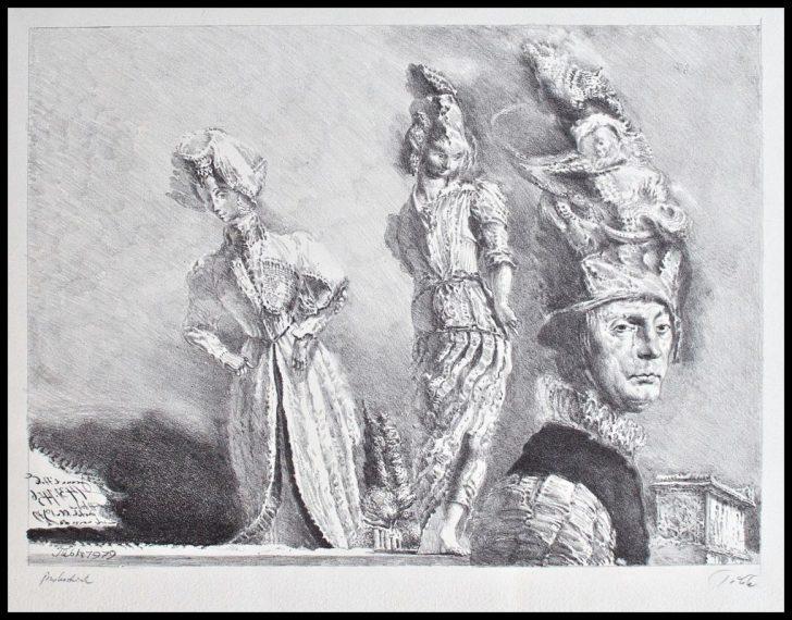 Werner Tübke, Happening in Pompeji IV, Lithographie, 1979