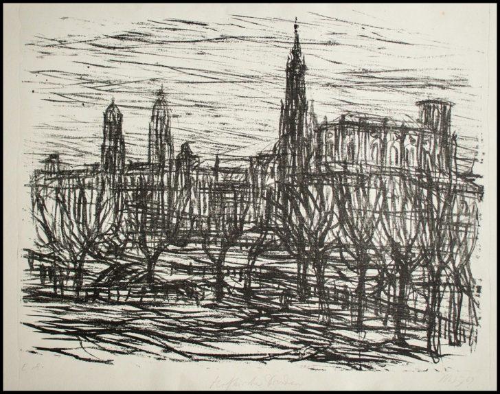 Max Uhlig, Hofkirche Dresden, Lithographie, 1969, e. a.