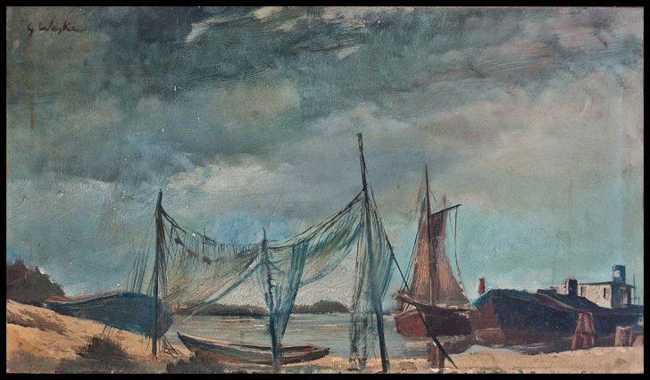 Erich Waske, Boote an der Ostsee, Öl auf Hartfaser, 1930er Jahre