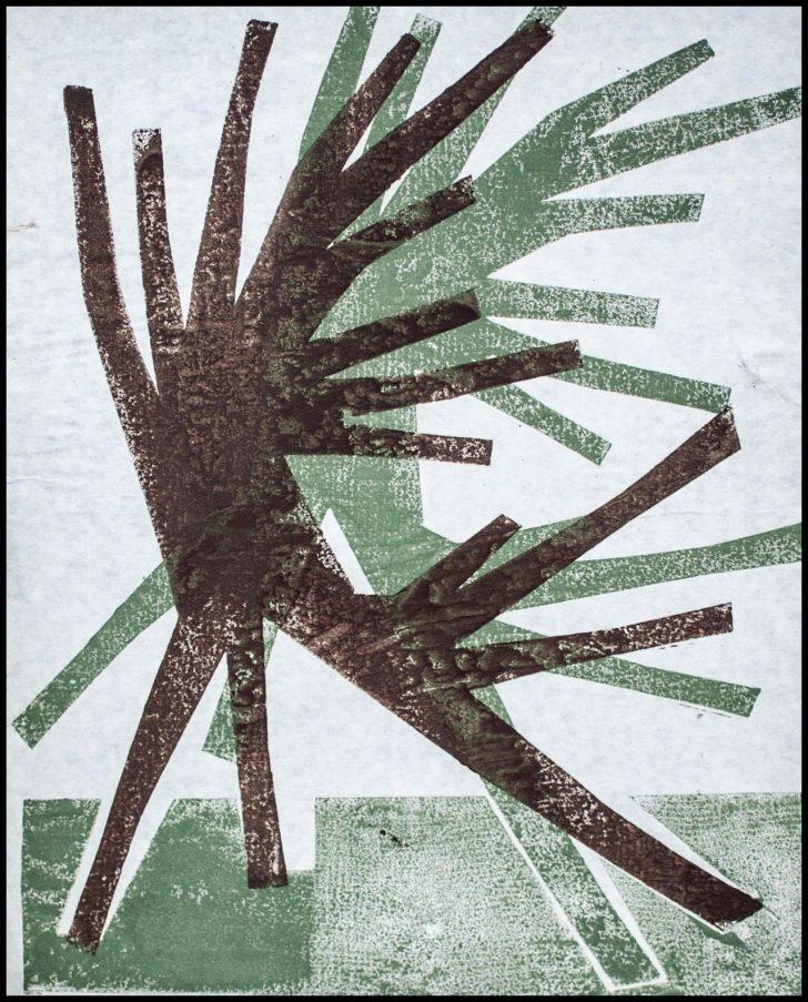 Hermann Glöckner, o. T., farbiger Holzdruck, 1968/72