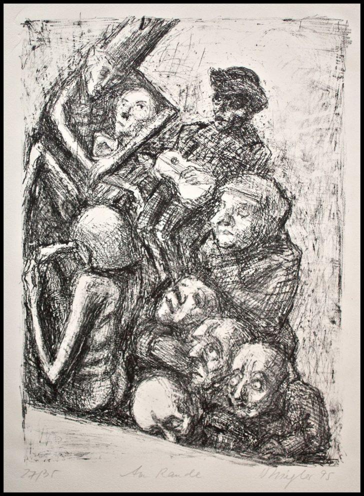Doris Ziegler, Am Rande, Lithographie, 1995, 27/35