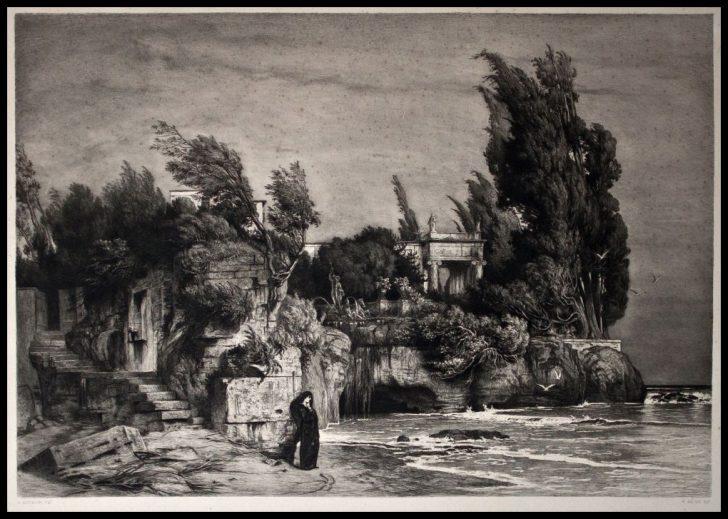 Wilhelm Hecht, Römische Villa am Meere, Radierung nach Arnold Böcklin, 1897