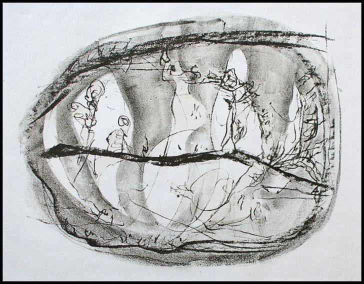 Gerhard Altenbourg, Verstrickt in das Moos, Radierung, o. J., 19/40