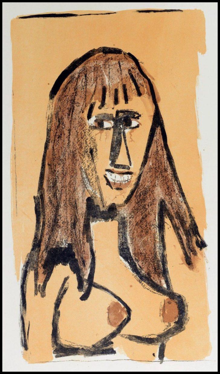 Otto Dix, Lachendes Mädchen, 1964, unsign. Probedruck
