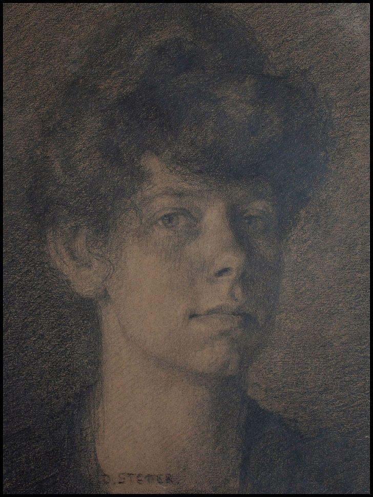 Dora Koch-Stetter, Selbstporträt, Kohlezeichnung, um 1910