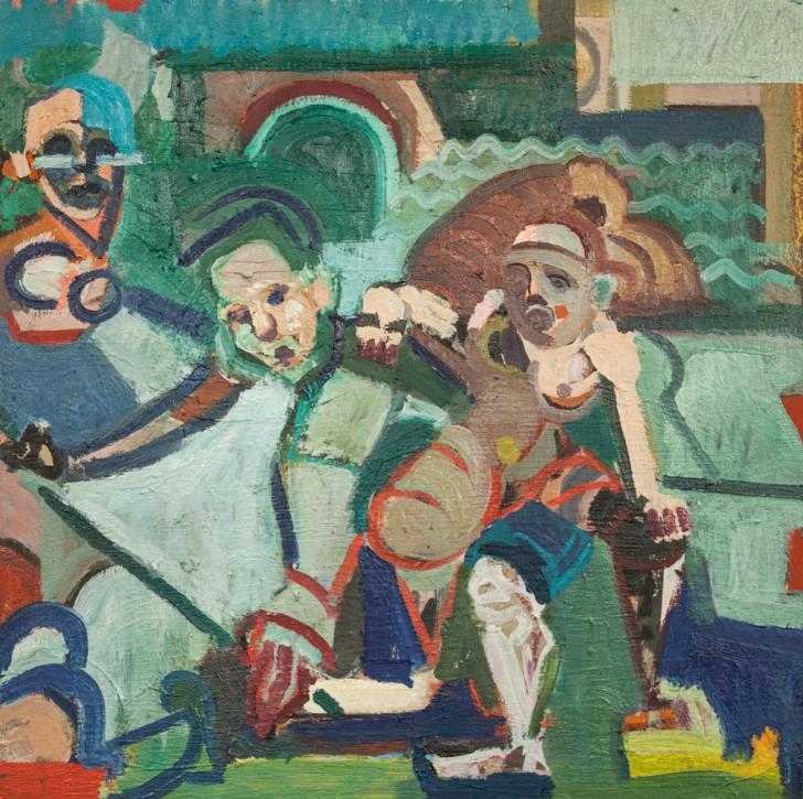 Lena Stühmeier, Club, 60x605 cm, 2018, Öl auf Holz