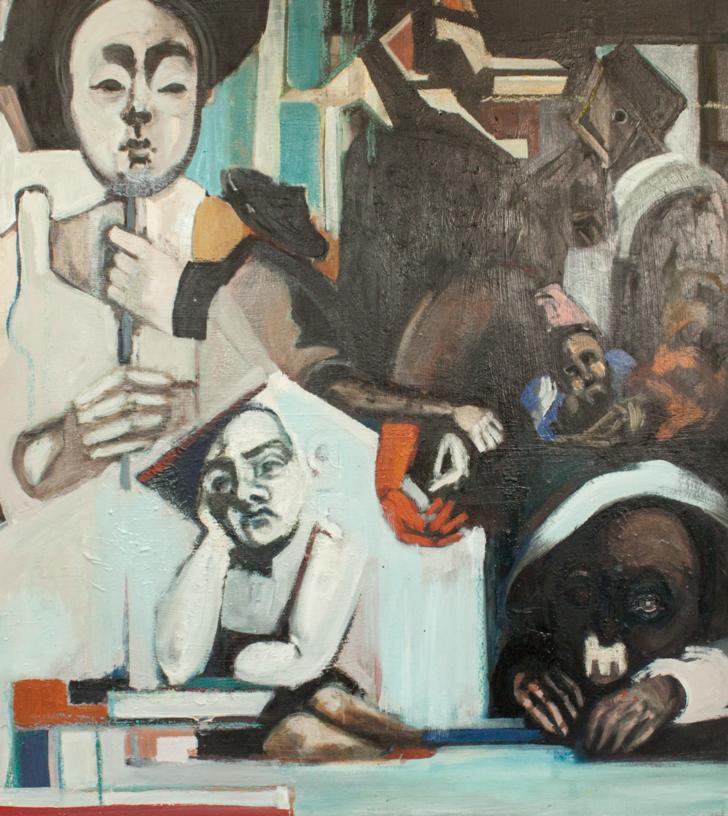 Lena Stühmeier, Maske, 100x115 cm, 2018, Öl auf Holz