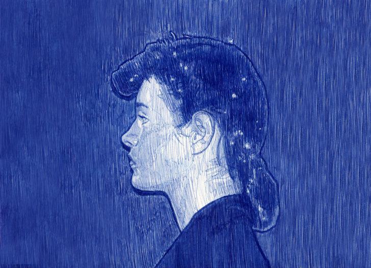 Nadine Wölk, Rachel II, 21,8x31,5 cm, 2017, Parker auf Papier