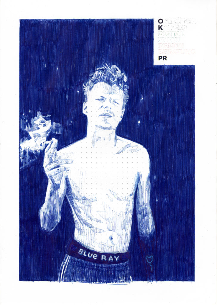 Nadine Wölk, Blue Ray I, 29,7x21,0 cm, 2018, Parker auf Papier