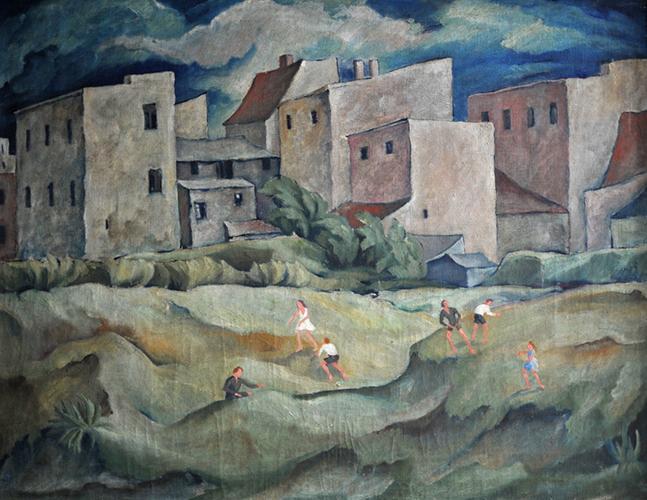 Unbekannter Künstler, Stadtlandschaft, Öl auf Leinwand, um, 1920