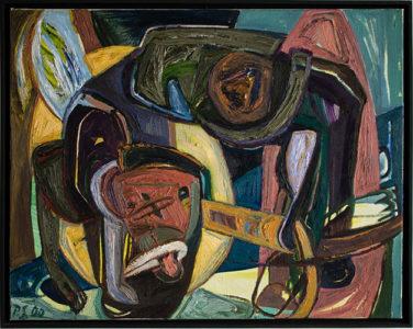 Philipp Schack, Die Katze, Öl auf Leinwand, 2000