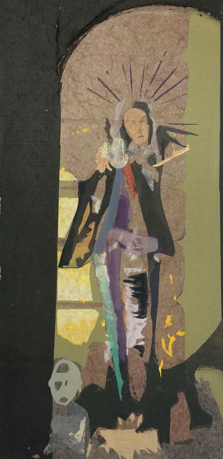 Christiane Wachter, Mater, 42 x 20 cm, 2018, Mischtechnik auf Papier