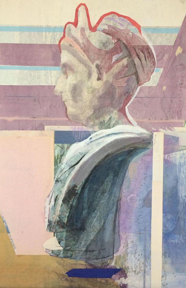 Christiane Wachter, Büste, 85 x 57 cm, 2018, Mischtechnik auf Holz