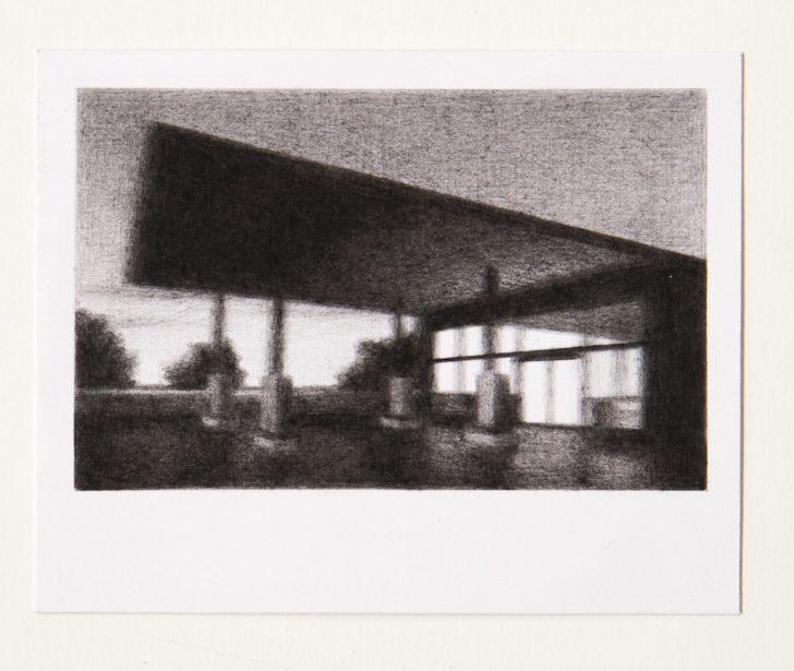 Steffen Kern, o.T. (Gas station), 8,6x10,8 cm, Kohlestift auf Papier, 2018