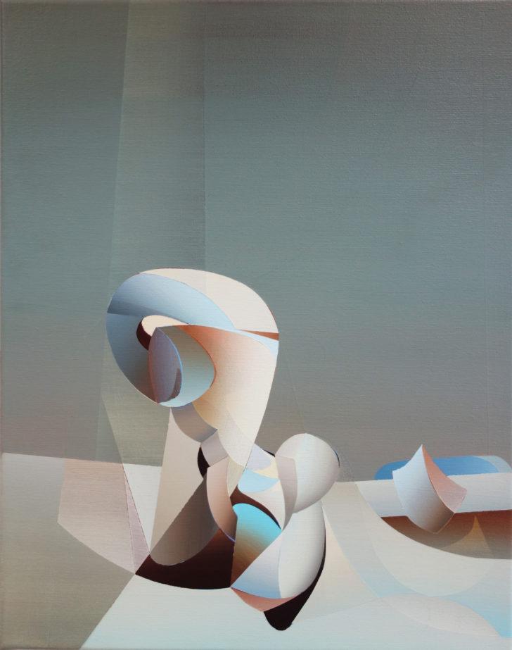 Marten Kirbach, Landschaft mit Figur, 50x40 cm, 2018, Acryl auf Leinwand