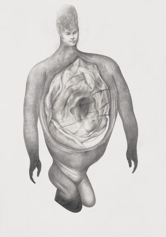"""Sabine Graf, """"blühen"""", 21x29,7 cm, 2018, Bleistift auf Papier"""