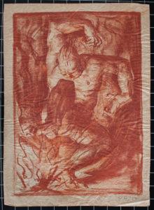 Otto A. Lehmann, o. T., 46x33 cm, o. J., Rötelzeichnung