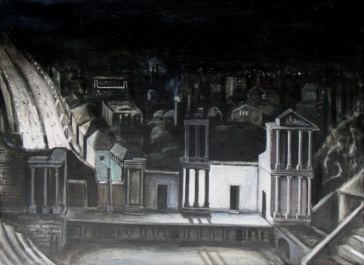 Doris Ziegler, Amphitheater, nachts, 88x116 cm, 1988, Eitempera auf Leinwand