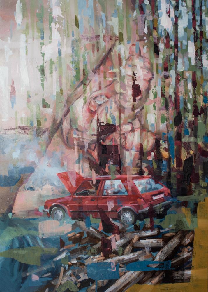 Franz Ehrenberg, Biss, 70x50 cm, 2018, Öl auf Leinwand