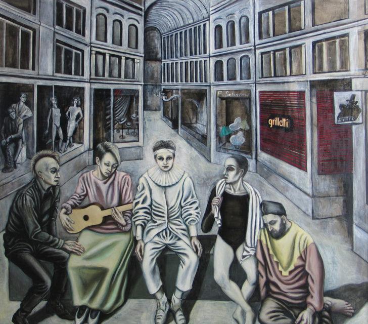 Doris Ziegler, Passage 2, Hommage á Watteau, 1990, 150x170 cm, Mischtechnik auf Hartfaser